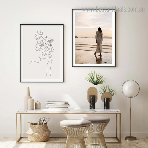 Stroller Lady Nature Contemporary Framed Artwork Image Canvas Print for Room Wall Finery
