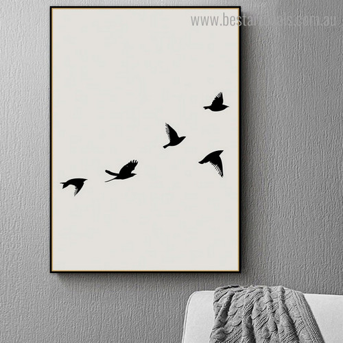 Flock Bird Contemporary Framed Painting Image Canvas Print for Room Wall Garnish