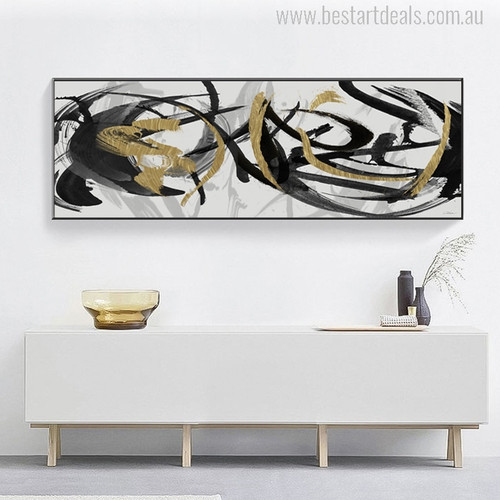 Black and Gold Abstract Curves Painting Print