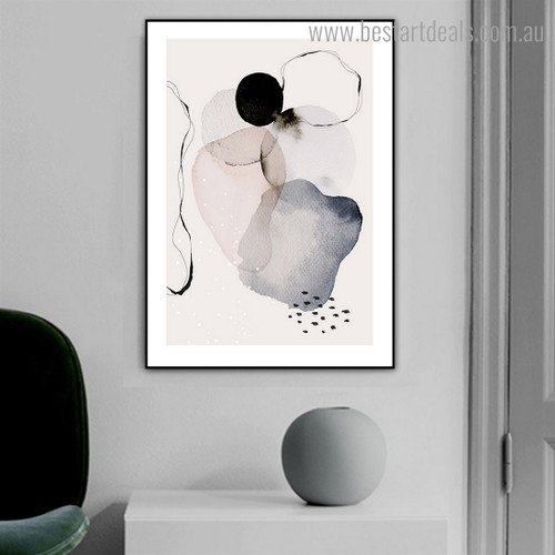 Colourful Stains Abstract Watercolor Framed Painting Image Canvas Print for Room Wall Finery
