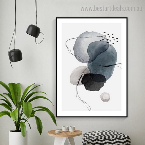 Smirches Abstract Watercolor Framed Painting Portrait Canvas Print for Room Wall Decoration