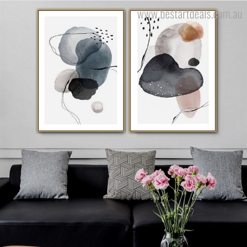 Colorific Blobs Abstract Watercolor Framed Artwork Pic Canvas Print for Room Wall Disposition