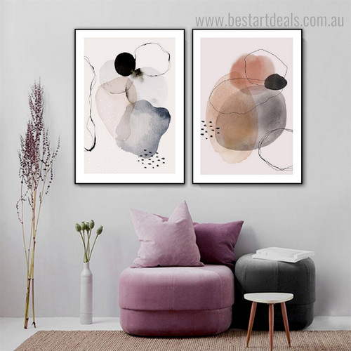 Circuitous Lines Abstract Watercolor Framed Painting Picture Canvas Print for Room Wall Finery