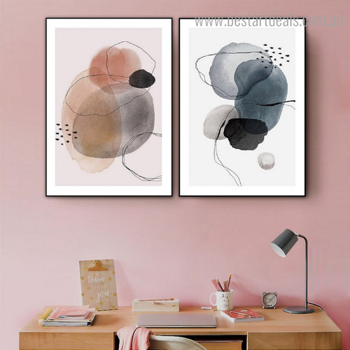 Wiggly Traits Abstract Watercolor Framed Painting Picture Canvas Print for Room Wall Decor