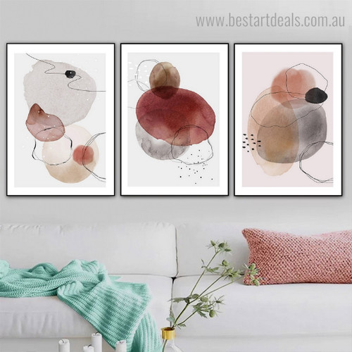 Curvy Trails Abstract Watercolor Framed Artwork Portrait Canvas Print for Room Wall Decoration