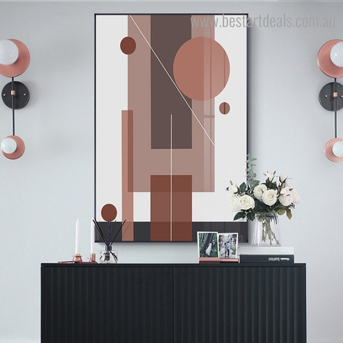 Circle Streaks Abstract Modern Framed Painting Pic Canvas Print for Room Wall Getup