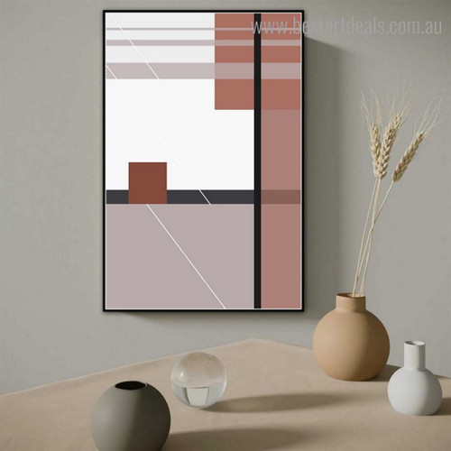 Bold Thin Strokes Abstract Modern Framed Painting Portrait Canvas Print for Room Wall Adornment