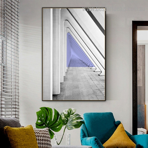 Tunnel Abstract Contemporary Framed Painting Photo Canvas Print for Room Wall Finery