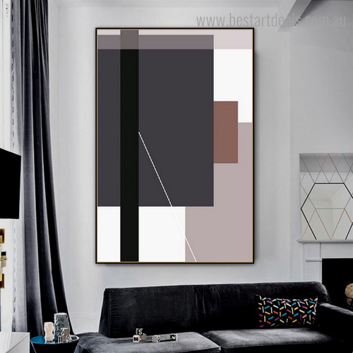 Vertical Rectangles Abstract Contemporary Framed Painting Picture Canvas Print for Room Wall Decoration
