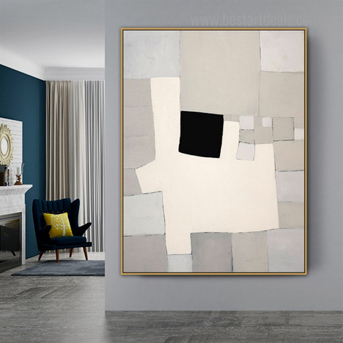 Varicolored Boxes Abstract Vintage Framed Artwork Photograph Canvas Print for Room Wall Disposition