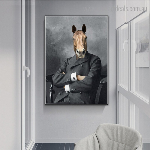 Horse in Clothes Animal Abstract Contemporary Framed Painting Pic Canvas Print for Room Wall Drape