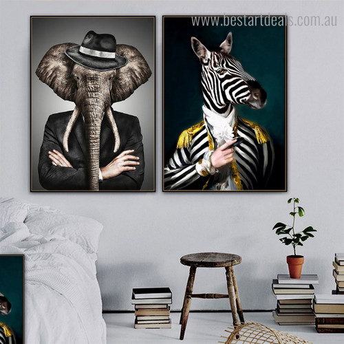 Tusker Zebra Animal Abstract Contemporary Framed Artwork Photo Canvas Print for Room Wall Adornment