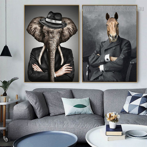 Elephant Equine Abstract Contemporary Framed Artwork Image Canvas Print for Room Wall Adornment