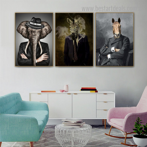 Zebra Horse Tusker Abstract Contemporary Framed Painting Image Canvas Print for Room Wall Assortment