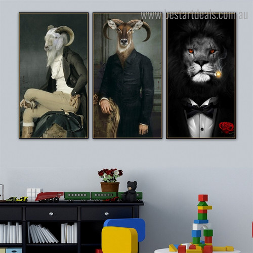 Lion Mouflon Wiltshire Abstract Contemporary Painting Portrait Canvas Print for Room Wall Assortment