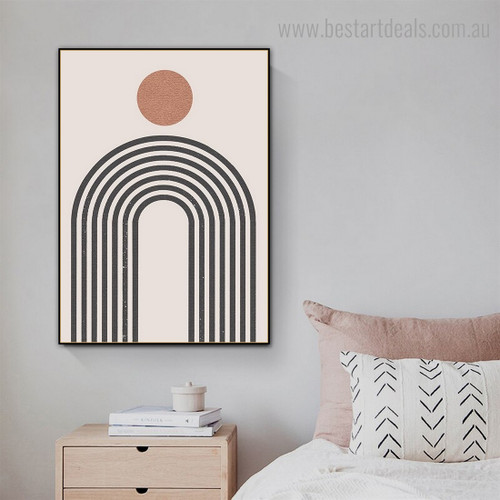 Spherical Strokes Abstract Minimalist Framed Painting Picture Canvas Print for Room Wall Finery