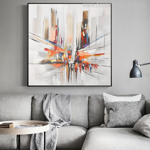 Abstract City Streets Colorful Modern Painting Canvas Print