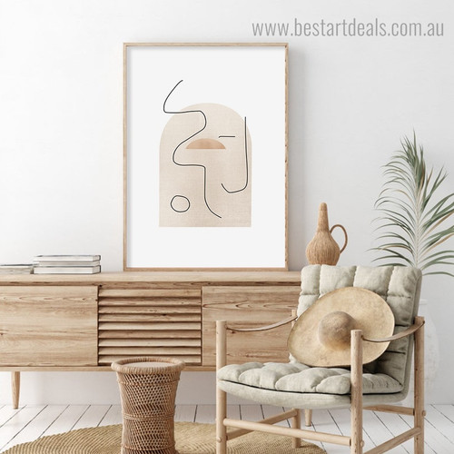 Circular Traits Abstract Minimalist Framed Smudge Portrait Canvas Print for Room Wall Onlay