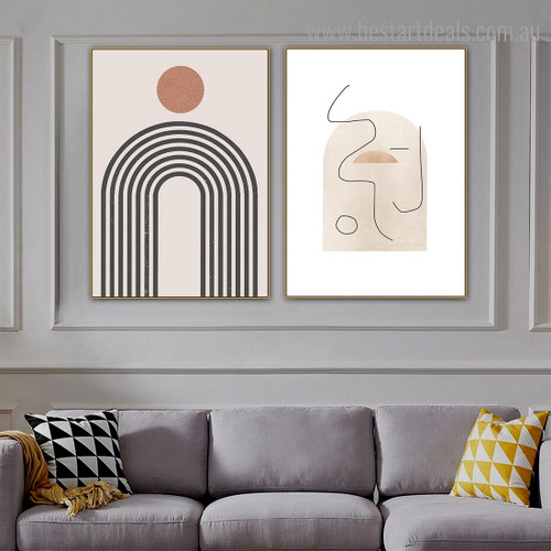 Sinuous Lines Abstract Minimalist Framed Smudge Portrait Canvas Print for Room Wall Assortment