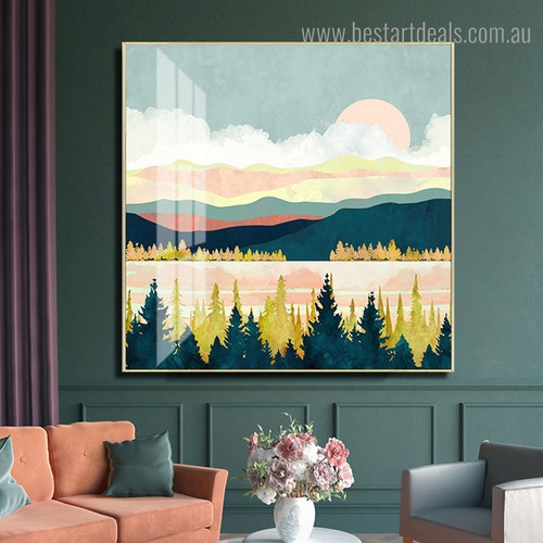 Lake Forest Nature Scandinavian Framed Painting Photo Canvas Print for Room Wall Decor