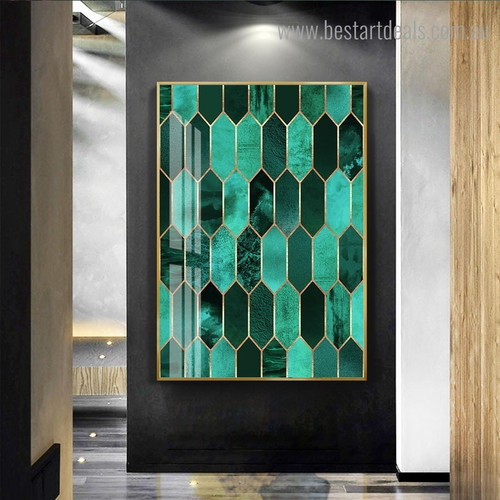 Elongated Hexagon Abstract Contemporary Framed Painting Photo Canvas Print for Room Wall Onlay
