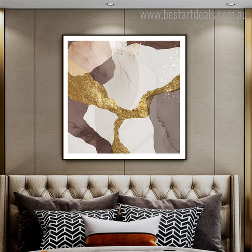 Brown Golden Abstract Contemporary Framed Painting Photograph Canvas Print for Room Wall Assortment