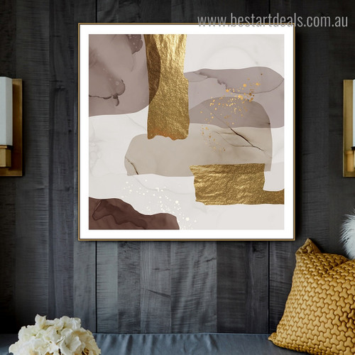 Grey Golden Abstract Contemporary Framed Painting Photograph Canvas Print for Room Wall Assortment