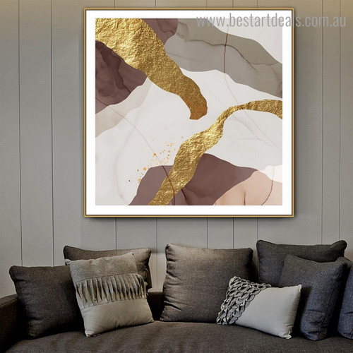 Grey Brown Abstract Contemporary Framed Painting Photograph Canvas Print for Room Wall Decoration