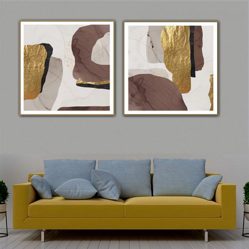 Meandering Strokes Abstract Contemporary Framed Artwork Portrait Canvas Print for Room Wall Tracery