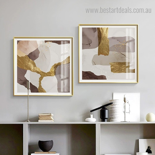 Golden Brown Grey Abstract Contemporary Framed Painting Portrait Canvas Print for Room Wall Decor