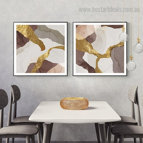Golden Blemishes Abstract Contemporary Framed Painting Photo Canvas Print for Room Wall Disposition