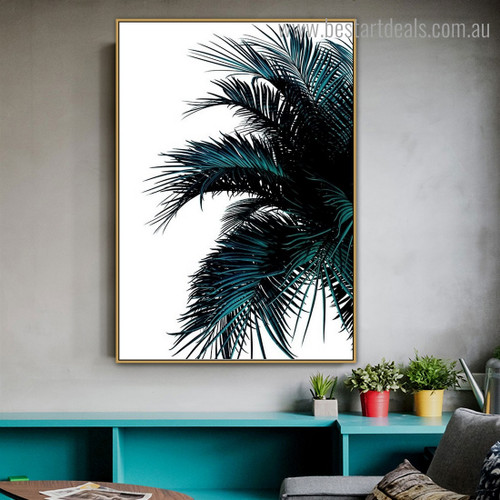 Green Palm Leaves Botanical Contemporary Framed Artwork Photo Canvas Print for Room Wall Decoration