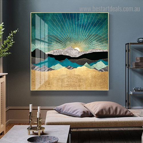 Peacock Vista Landscape Nature Modern Framed Painting Photo Canvas Print for Room Wall Decor