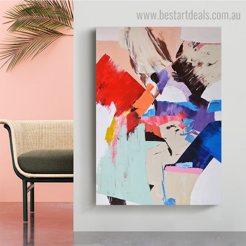 Blue Red Yellow Abstract Modern framed Artwork image Canvas Print for Room Wall Garniture