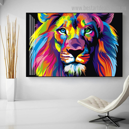 Colorful Lion Animal Modern Framed Painting Image Canvas Print for Room Wall Flourish