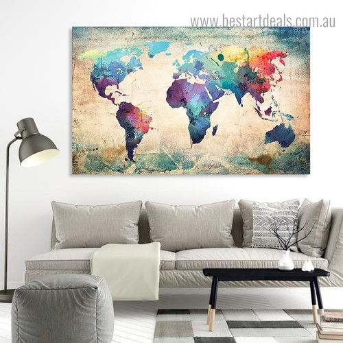 Motley Map Abstract Vintage Framed Painting Portrait Canvas Print for Room Wall Decoration