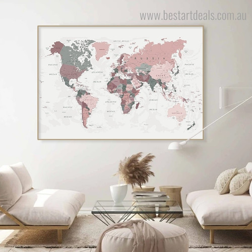 Calico Map Abstract Vintage Framed Painting Pic Canvas Print for Room Wall Decor