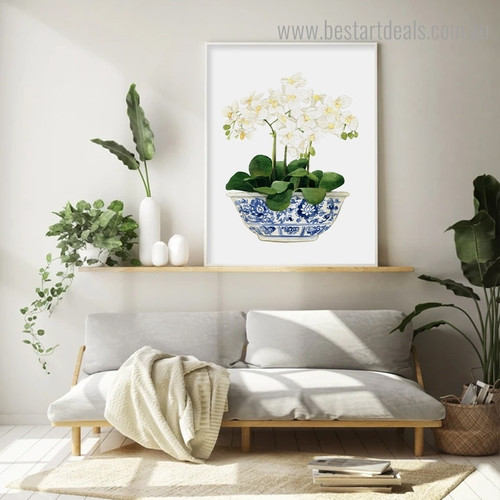 Orchids Floral Modern Framed Painting Pic Canvas Print for Room Wall Garniture