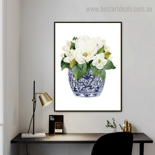 Magnolia Floral Modern Framed Painting Picture Canvas Print for Room Wall Decor