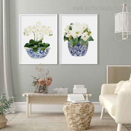 Orchids Magnolia Floral Modern Framed Artwork Picture Canvas Print for Room Wall Adornment