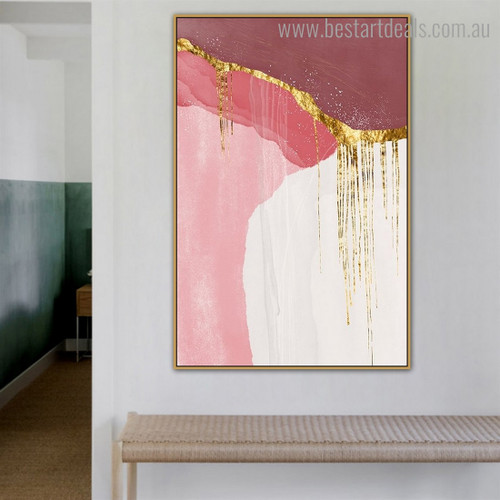 Maroon Abstract Contemporary Framed Artwork Picture Canvas Print for Room Wall Adornment