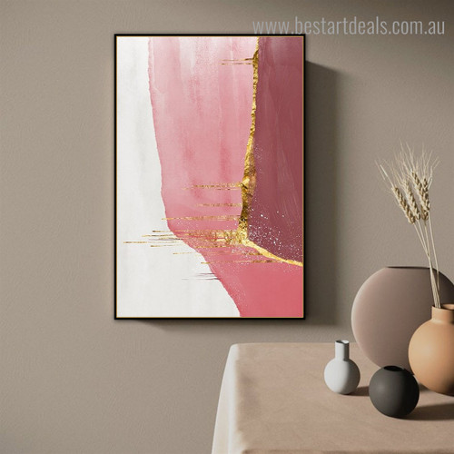Pink White Abstract Contemporary Framed Artwork Photo Canvas Print for Room Wall Ornament