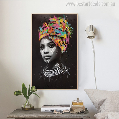 Afro Women Modern Portrait Picture Canvas Print for Room Decor