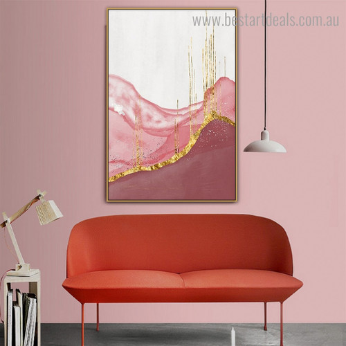 Pink Golden Abstract Contemporary Framed Artwork Photo Canvas Print for Room Wall Ornament