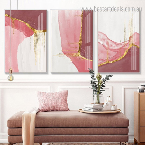 Glossy Stripes Abstract Contemporary Framed Painting Image Canvas Print for Room Wall Tracery