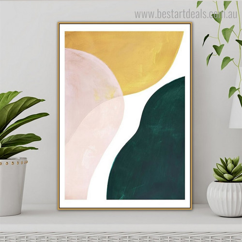 White Green Abstract Contemporary Framed Painting Picture Canvas Print for Room Wall Flourish