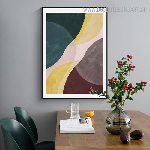 Brown Yellow Abstract Contemporary Framed Painting Portrait Canvas Print for Room Wall Garnish