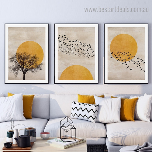 Birdies Shoal Landscape Scandinavian Framed Artwork Image Canvas Print for Room Wall Decor