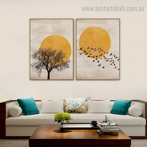 Birds Multitude Landscape Scandinavian Framed Artwork Photo Canvas Print for Wall Hanging Decor