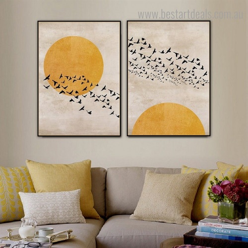 Huddle Bird Scandinavian Framed Painting Photo Canvas Print for Room Wall Decoration